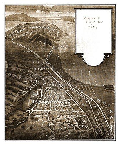 The Poster Corp Old Map of San Mateo Park California 1905 San Mateo County Kunstdruck (60,96 x 91,44 cm) - Mateo Poster