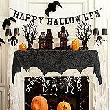 Halloween Spiderweb Decorations - RECESKY 240*43cm Halloween Black Lace Cobweb Fireplace Cover Decor - Halloween Mantel Scarf - for Halloween Party Supplies, Indoor, Door, Window, Curtain, Windowsill, Table Decorations