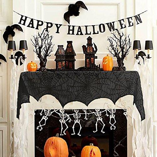 z Dekorationen - RECESKY 240*43cm Halloween Schwarze Spitze Spinnwebe - Halloween Kamin Dekor für Halloween Party, Innen, Tür, Fenster, Vorhang, Fensterbrett, Tisch Dekoration (Halloween Fenster Vorhänge)