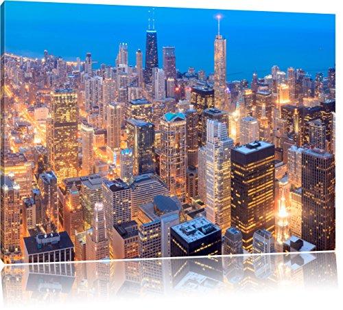 Luftaufnahme von Chicago bei Nacht, Format: 120x80 auf Leinwand, XXL riesige Bilder fertig gerahmt mit Keilrahmen, Kunstdruck auf Wandbild mit Rahmen, günstiger als Gemälde oder Ölbild, kein Poster oder Plakat