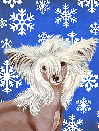 Caroline 's Treasures lh9302gf Chinesischer Schopfhund Winter Schneeflocken Urlaub Flagge, klein, multicolor (Kleinen Garten Urlaub-flags)