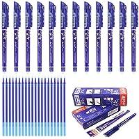 12 bolígrafos de tinta negra, roja, azul oscura o azul, borrable de 0,5 mm y 20 recambio de gel de bolígrafos, papelería escolar para escribir a mano de la marca Laconile, color azul