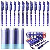 12 stylos effaçables Laconile avec mine de 0,5mm, noir/bleu/rouge/bleu foncé et 20 recharges d'encre gel bleu