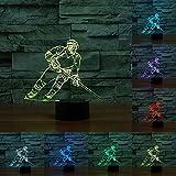 Eishockeyspieler Player 3D LED Lampe Montreal Farbe Farbwechsel Touchscreen Tischleuchte Acryl Licht-Nacht für Kinder Nachttischlampe