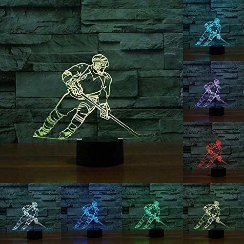 Hockey sobre hielo unidad 3d led lámpara Montreal color luz cambiantes táctil lámpara de mesa acrílico luz nocturna para niños lámpara de noche