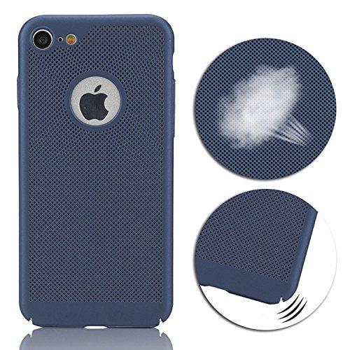 Custodia per iPhone 7, Cover per iPhone 7,Sunroyal Ultra Slim Sottile Shock-Absorption [Dissipazione del Calore Bene] Raffreddamento Air-mesh Traspirante Matte Anti-impronte Digitali Copertura Protett Blu