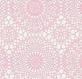 Klebefolie - Möbelfolie - Spitze rosa weiss 45 x 200 cm - Dekorfolie selbstklebend, selbstklebende Folie für Möbel, Küche und Kinderzimmer, Bastelfolie