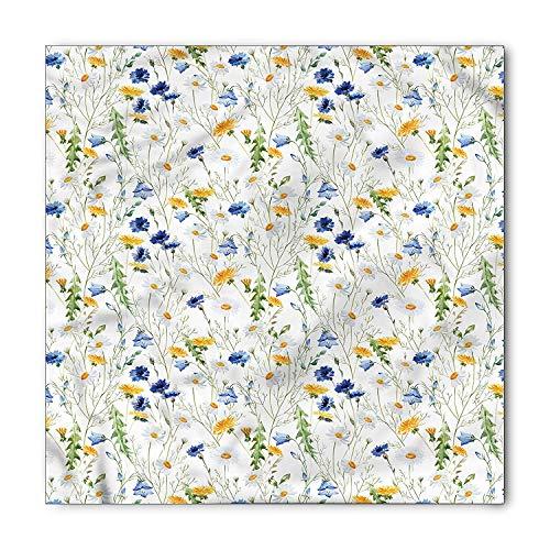 MSGDF Flower Bandana, Poppies Daisies Rural, Unisex Bandana Head and Neck Tie Neckerchief Headdress Silk-Like 100% Polyester