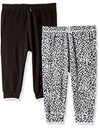 The Children's Place Baby Girls' Leopard Print And Solid Knit Pants (Pack of 2)