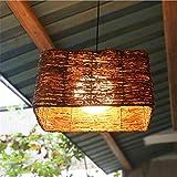 DKZ Iluminación de Interior Araña Lámparas Moderno Araña Colgante Dormitorio Sala de Estar Comedor Caf \u0026 Eacute; Natural Lámparas de Techo de ratán Hechas a Mano