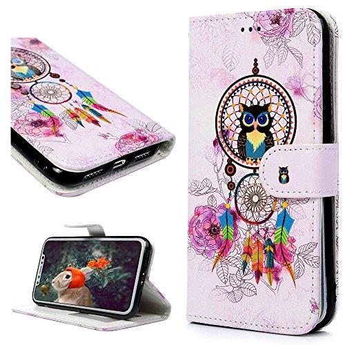 MAXFE.CO Schutzhülle Tasche Case für iPhone X PU Leder Flip Tasche Cover Gemalt Muster im Ständer Book Case / Kartenfach Bunt Muster Traumfänger
