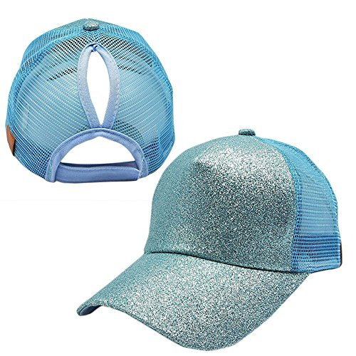 Ponytail Baseball Hat, Sequins Shiny Adjustable Cotton Classic Sports Hat,Summer Sun Cap for Women Adult
