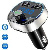 Cocoda Transmetteur FM Bluetooth, Kit Main Libre Voiture Bluetooth Chargeur Voiture avec Dual USB Ports 5V/2.4A & 1A, Adaptateur Radio Support Main Libre, Carte TF, Clé USB