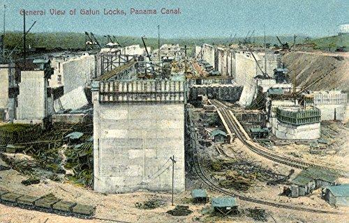 The Poster Corp Panama Canal C1910. /Nview of Gatun Locks Panama Canal. Photopostcard C1910. Kunstdruck (45,72 x 60,96 cm) - Gatun Locks