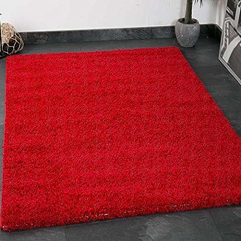 Prime Shaggy Farbe Rot Teppich Hochflor Langflor Teppiche Modern für Wohnzimmer Schlafzimmer - VIMODA, Maße:120x170 (Teppich Rot)