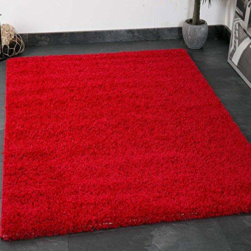 Vimoda primo shaggy tappeto pelo lungo tappeti moderni per soggiorno camera letto in bianco e nero nougat marrone chiaro rosso, rosso, 80x150 cm