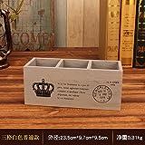 JWBT Versand drei Pen box Holz Doug kreative Retro alte kleine Holzkiste, Fernbedienung, drei Gitter in Weiß