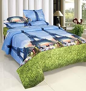 Vtm 3D Polycotton Eiffel Tower Print Double Bedsheet With 2 Pillow Cover ,Multicolor