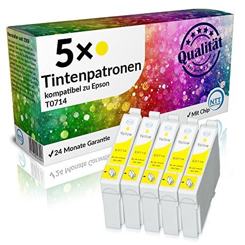 N.T.T.® 5 x Stück XL Druckerpatronen / Tintenpatronen kompatibel zu Epson T714 Yellow / Gelb Sparpack