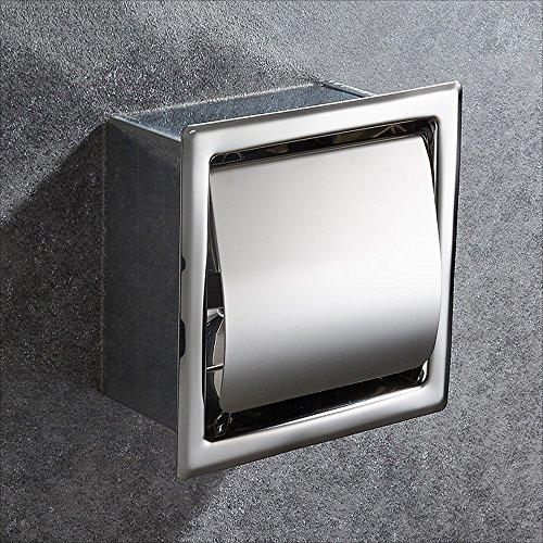 Rishx Toilettenpapierhalter mit Abdeckung Edelstahl Wasserdichter Wandeinbau Rollenpapierhalter Papierrollenhalter