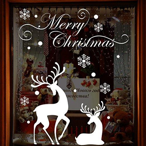 LQZ Weihnachten Fensterbild Fenstertattoo Festersticker Fensteraufkleber Wandtattoo Wandsticker Fenster Deko Schaufenster Elch Rentier