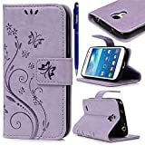Coque Samsung Galaxy S4 mini, Yokata Housse Etui de Protection en PU Cuir avec Function Case Folio Flip Ultra Mince Cover Card Slot Wallet Absorption de Choc Bumper Portefeuille Papillon et Fleur Backcover + 1*Stylet - Violet Clair