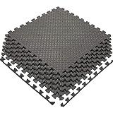 Tapis de Protection de Sol 60 x 60 cm, Tapis de Fitness dalles emboîtables en mousse EVA avec bordures, Grand Tapis de Gymnas