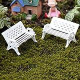 jiaqinsheng blanco Mini Parque Asiento banco adorno de jardín jardinería Props (pequeño)