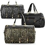 Damentasche mit Spitze Shopper Bag Schultertasche Spitzenstickerei – Optik Reißverschluss (gold/schwarz)