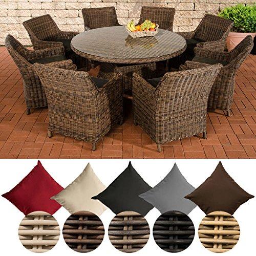 CLP Polyrattan Sitzgruppe GINOSA XL | Garten-Set: EIN runder Esstisch mit Glasplatte und acht Stühle | In verschiedenen Farben erhältlich Rattan Farbe braun-meliert, Bezugfarbe: Anthrazit