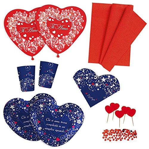 Kit blu n.4 coordinato san valentino con palloncini tovaglia, piatti, bicchieri, tovaglioli, confetti e picks cuore - anniversario matrimonio decorazioni ti amo love