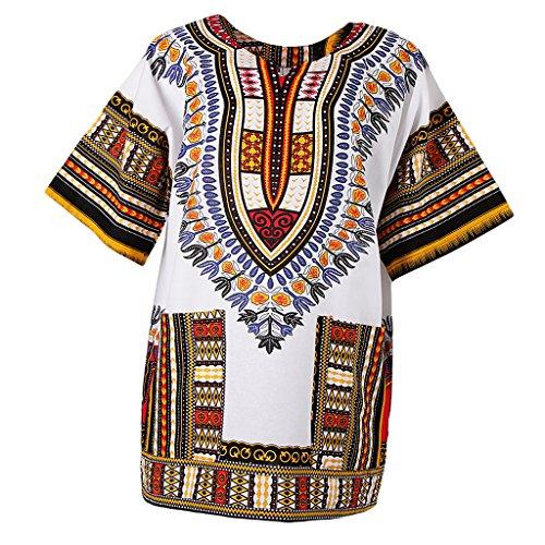 Sharplace Damen Kurzarm Sommer Traditionelle Afrikanische Kleider Afrika Style Minikleid Dashiki Cocktailkleid - Gelb, wie beschrieben