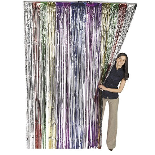 Metallic Rainbow Foil Fringe Shiny Curtains for Party, Prom, Birthday, Event Decorations 3 ft x 8 ft (1 Curtain) by Super Z Outlet? by Super Z Outlet? -