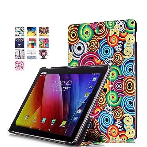 WindTeco Étui ASUS ZenPad 10 Z301MFL / Z2301ML / Z300M / Z300C - Etui Housse Ultra Mince et Léger à Rabat avec Support et Fonction Réveil / Sommeil Automatique pour Tablette ASUS ZenPad 10 Z301MFL / Z2301ML / Z300M / Z300C / Z300CG / Z300CL 10.1 Pouces, Spirale Colorée