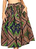 Sakkas 16321 - Celine African Dutch Ankara Wax Print Full Circle Skirt - 2281-Brown / Blue - OS
