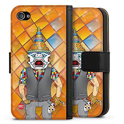 Apple iPhone X Silikon Hülle Case Schutzhülle Bunt Orange Comic Sideflip Tasche schwarz