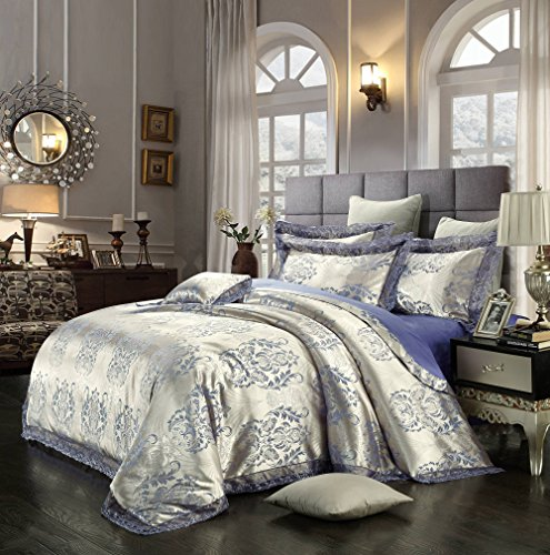 Young17 Cotton Quilted Bedding Set Quilted Bedspread Beautiful Floral Luxury Bedding(2 Pillowcase 48X74cm, 1 Flat Sheet 250*250cm, 1 Duvet Cover 200*230cm) Throw sets Pillows Comforter Set Duvet Cover Set, King Size