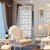 sunnymi 16pcs 3D Acryl Spiegel Blumen Aufkleber DIY Mit Modern Elegant Edel Für Sofa Stellwand Esszimmer Schlafzimmer Tür Gefrierschrank Kleiderschrank (Sliber)