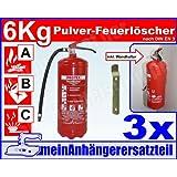 3x ABC Feuerlöscher 6kg Pulverlöscher 6 kg Dauerdrucklöscher