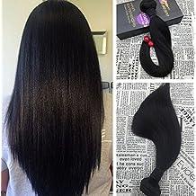 Moresoo 12pulgadas Silky Straight Extensiones de Cortina Cabello Natural Negro #1B Extensiones Remy Natural Cortina de Cabello Natural Brasileño Virgen Hair Weaving 100g