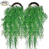 Künstliche Hängepflanzen, outgeek 2 STÜCKE Künstliche Grüne Efeu Rebe Künstliche Sträucher Hängende Reben Anlage für Hausgarten Im Freien Wanddekoration