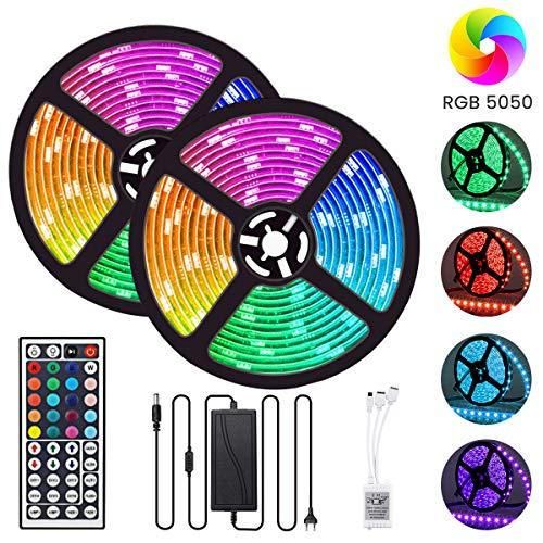 LED Streifen 10M GLIME LED Strip RGB LED Bänder 300LEDs 5050SMD Wasserdicht IP65 Lichtband Dimmbar Hintergrundbeleuchtung mit Netzteil 44-Tasten Fernbedienung Selbstklebend Beleuchtung 2x5M