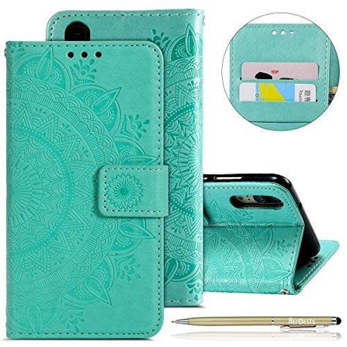 Kompatibel mit Handytasche Huawei P20 Lederhülle Mandala Blumen Prägung Muster Flip Hülle Klapphülle Bookstyle Cover Schutzhülle Case Handyhülle Leder Tasche Mit Kartenfächer,Grün