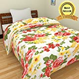 TRUSTFUL Microfiber Yellow Multi Flower Print Double Bed Reversible AC Blanket | Dohar | Quilt | Comforter | Duvet (Polycotton, Multicolor)