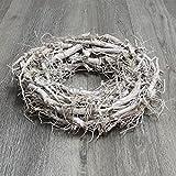 Toller Wurzelkranz Grau Weiß gekälkt Kranz Ø 40 cm Dekokranz Holzkranz