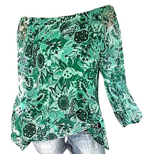 TianWlio Langarm Bluse Damen Frauen Damen Lange Ärmel Beiläufig Punkte Top Bluse Lose T-Shirts Beiläufiges Hemd Langarm Schulterfrei Oberteile Tops