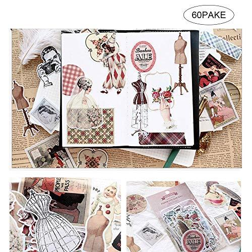 Baiwka Vintage Ephemera Pack-Set,60PC Mehrere Themen Vintage Stanzungen,Einfach Selbstklebende Blumen Rosen Garten Wildblumen Schmetterlinge Für Scrapbook,Journal,Kartenherstellung,Notebook -