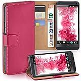 moex HTC One M7 | Hülle Pink mit Karten-Fach 360° Book Klapp-Hülle Handytasche Kunst-Leder Handyhülle für HTC One M7 Case Flip Cover Schutzhülle Tasche