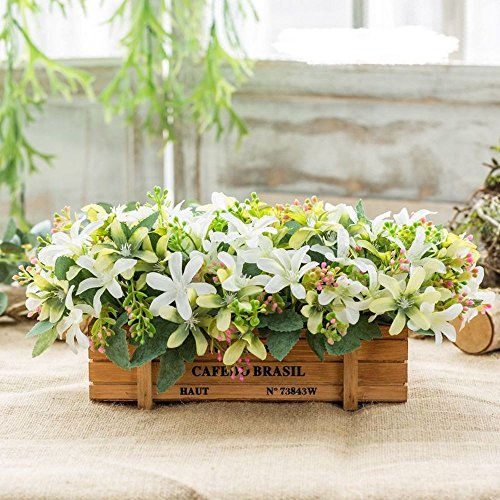 Flinfeays fiori artificiali fake flowers creative wooden fences diy holiday gifts gifts wedding party kitchen window sill home decor wooden pot flowers small pot green-12