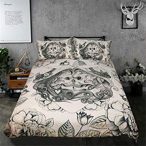 HOMOOR 3 Stück Schädel Bettbezug-Sets 3D-Skelett Bettwäsche Halloween-Schädel Bettbezug & Kissenbezug,King264cmx228cm